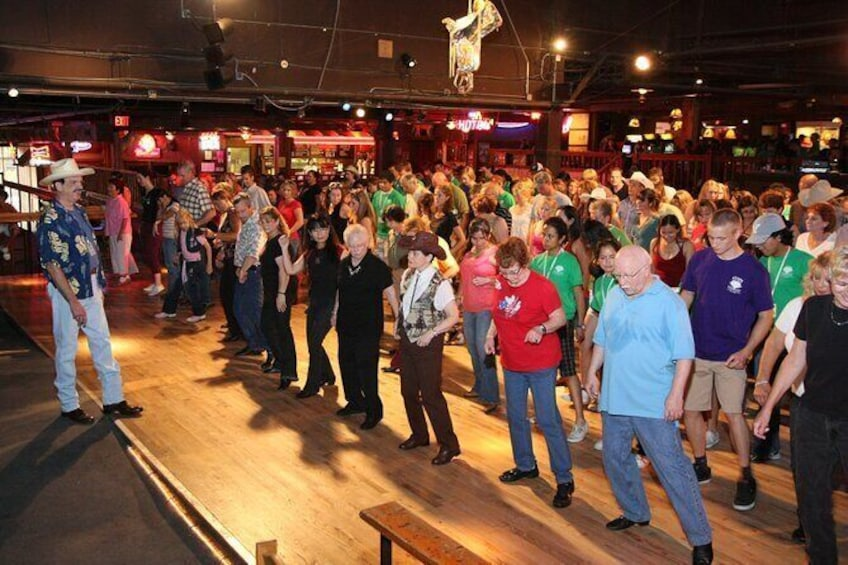 We offer free line dance lessons on Saturdays at noon