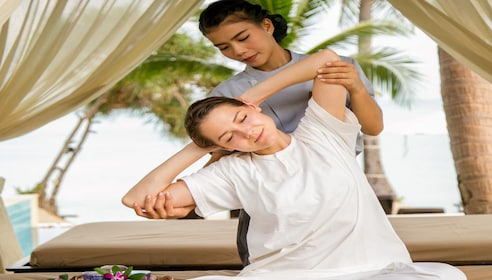 Woman getting a massage at a Spa in Thailand
