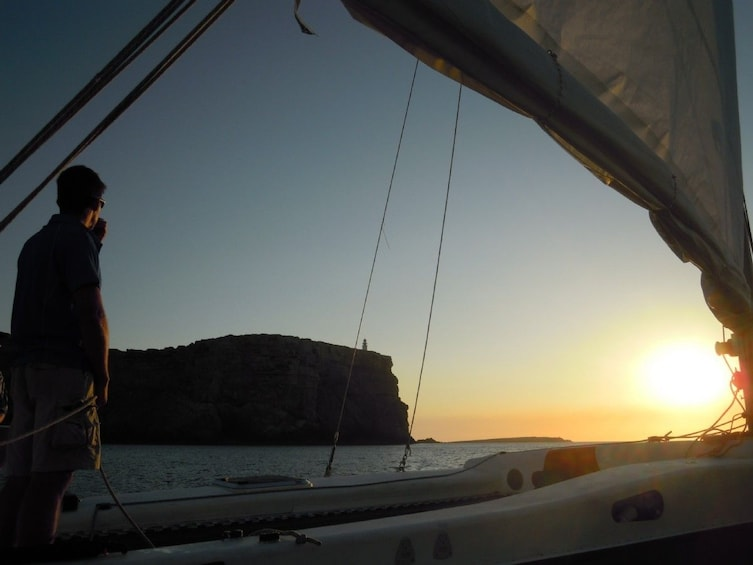 Show item 1 of 5. Sailing trip at sunset from Fornells