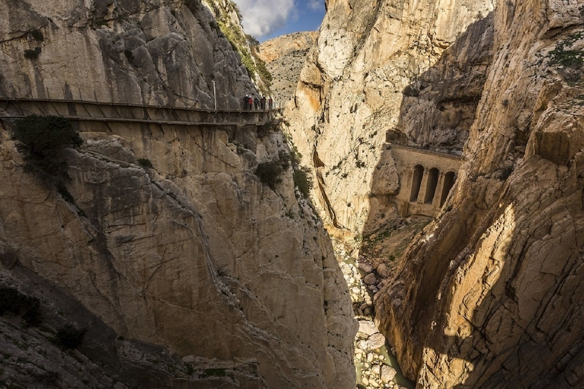 Gorge and mountainside walkway in a gorge in Caminito del Rey