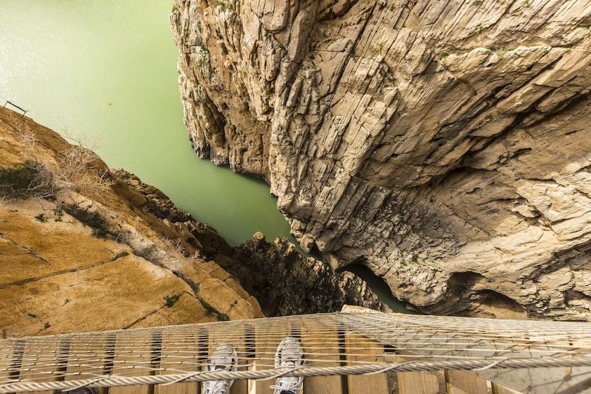 View from a bridge over a gorge in Caminito del Rey
