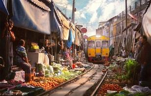 Amphawa Floating & Maeklong Railway Train Market Tour