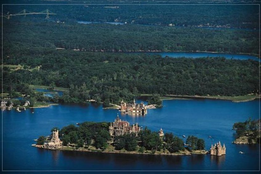 An aerial view of Boldt Castle
