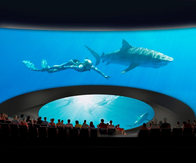 Show item 1 of 4. Guests enjoying the state-of?the-art immersive theater at the Aquarium of the Pacific in Long Beach, California