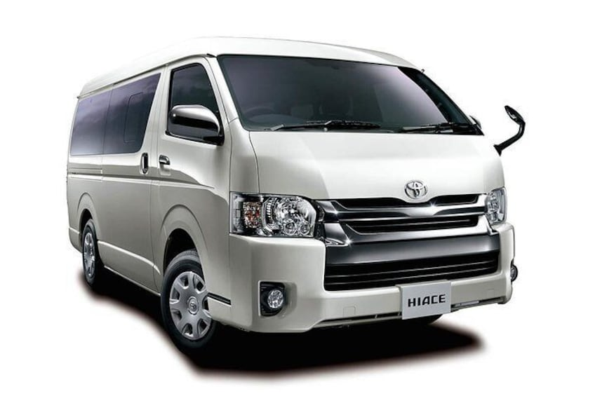 Toyota Hiace Van, choose the 9 or 13 seater depending on the size of your group