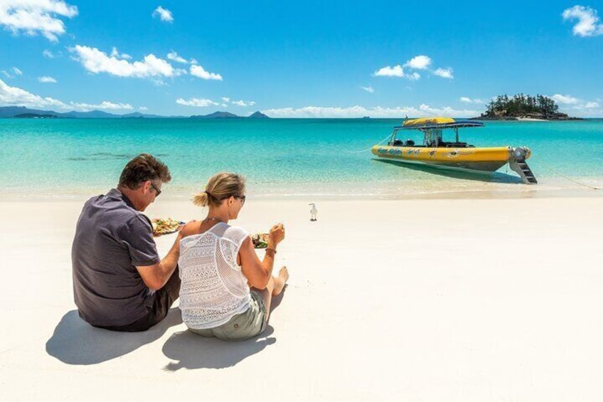 Enjoy your lunch on Whitehaven Beach