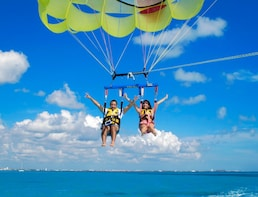 Parasailing over paradise Cancun