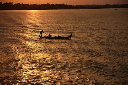 Fishing Boat during Sunset - Mekong River.JPG