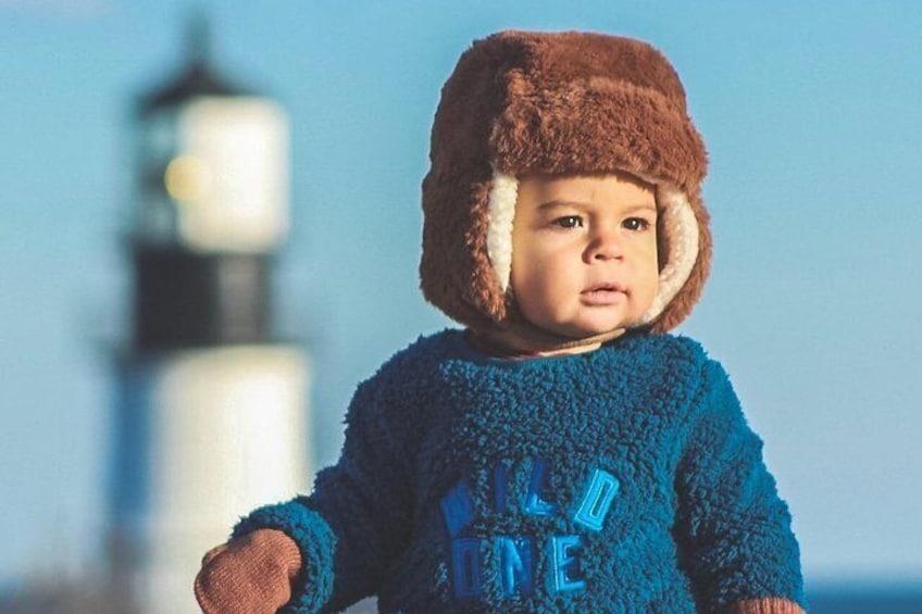 Baby Noah exploring Portland Head Light